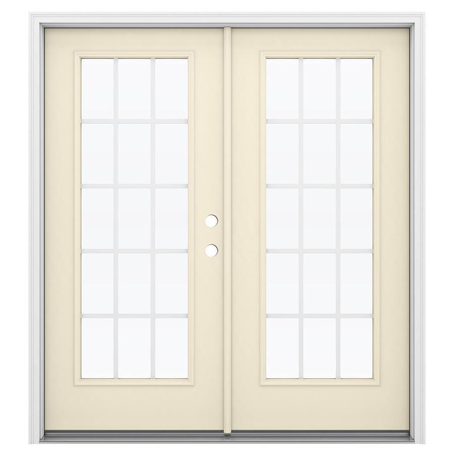 ReliaBilt 71.5-in 15-Lite Grilles Between the Glass Bisque Steel French Inswing Patio Door