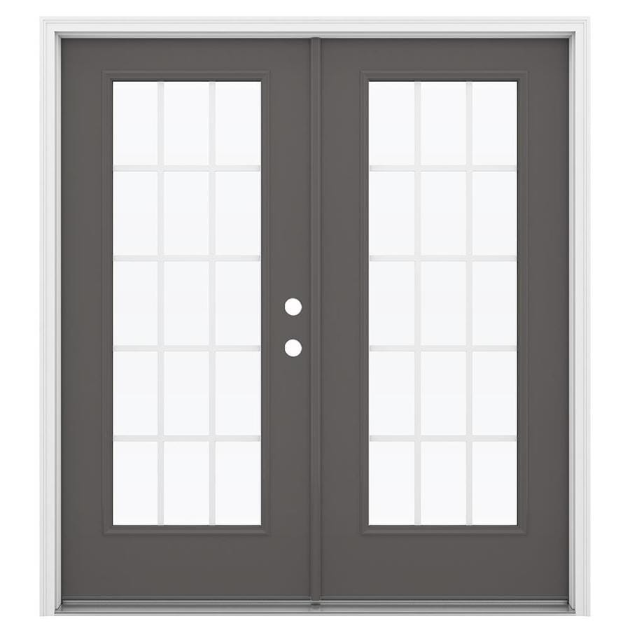 ReliaBilt 71.5-in 15-Lite Grilles Between the Glass Timber Gray Steel French Inswing Patio Door