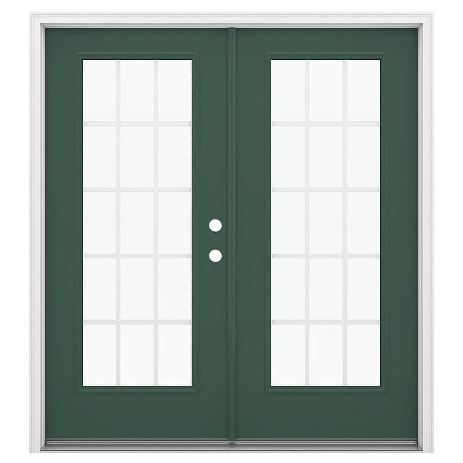 ReliaBilt 71.5-in 15-Lite Grilles Between the Glass Evergreen Steel French Inswing Patio Door