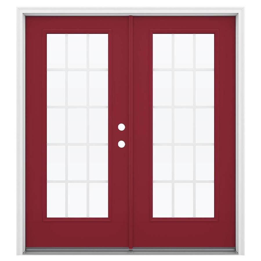 ReliaBilt 71.5-in 15-Lite Grilles Between the Glass Roma Red Steel French Inswing Patio Door