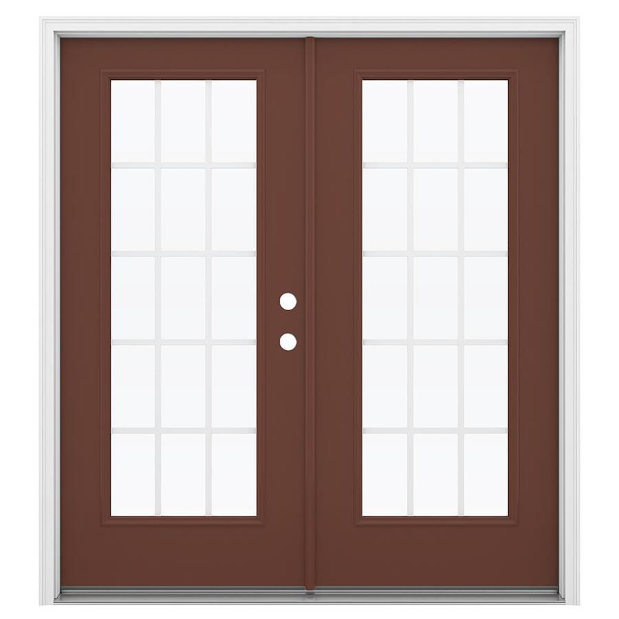ReliaBilt 71.5-in x 79.5-in Grilles Between the Glass Left-Hand Inswing Steel French Patio Door