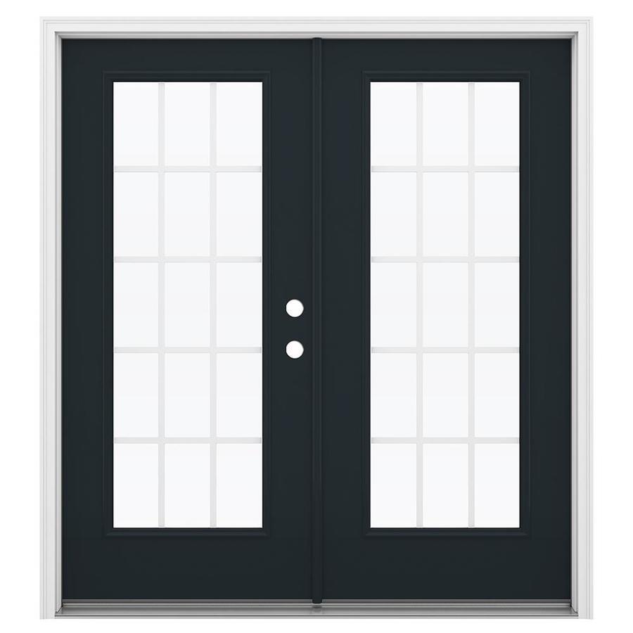 ReliaBilt 71.5-in 15-Lite Grilles Between the Glass Eclipse Steel French Inswing Patio Door