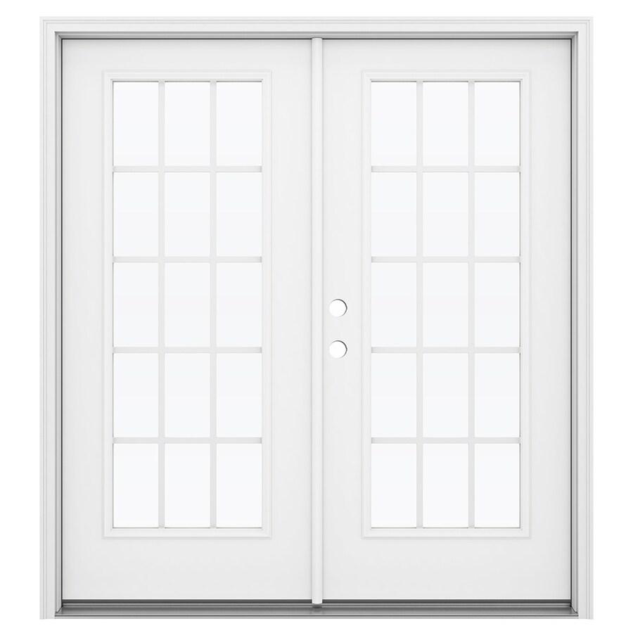 ReliaBilt 71.5-in 15-Lite Grilles Between the Glass Arctic White Steel French Inswing Patio Door