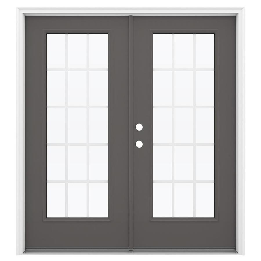 ReliaBilt 71.5-in x 79.5-in Grilles Between the Glass Right-Hand Inswing Gray Steel French Patio Door