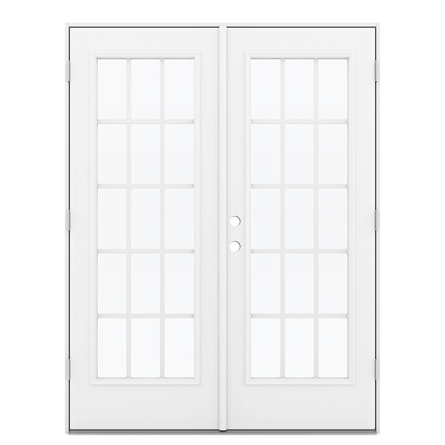 ReliaBilt 59.5-in 15-Lite Grilles Between the Glass Primed Steel French Outswing Patio Door