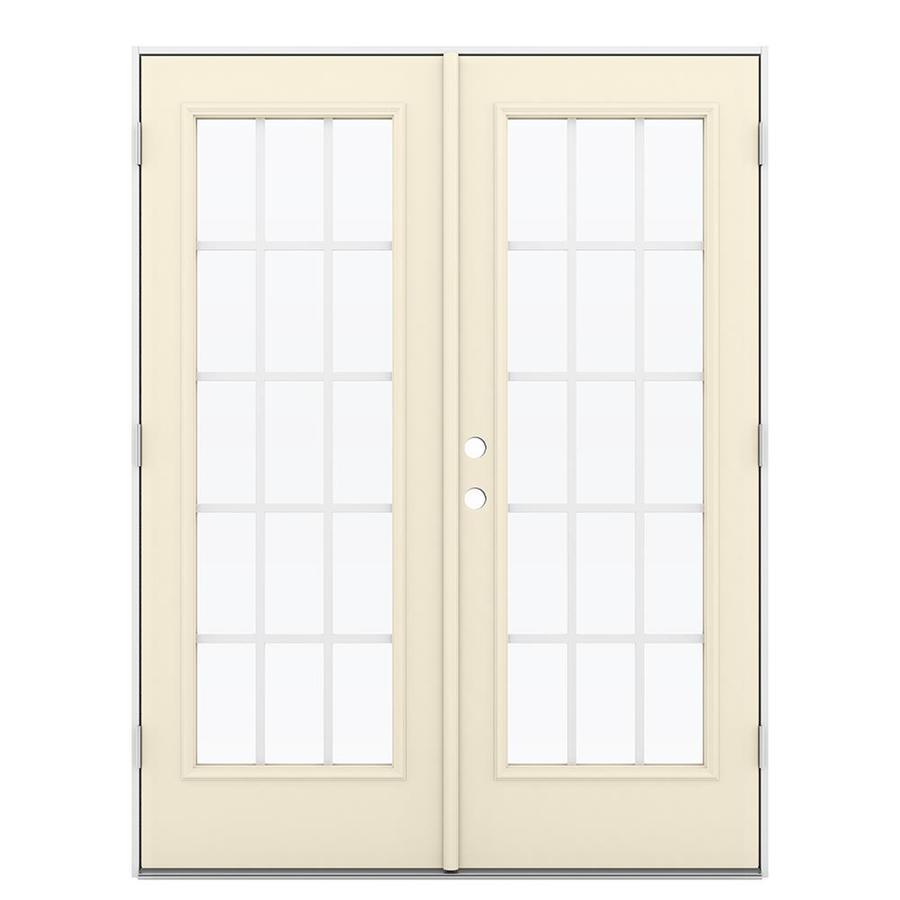ReliaBilt 59.5-in 15-Lite Grilles Between the Glass Bisque Steel French Outswing Patio Door