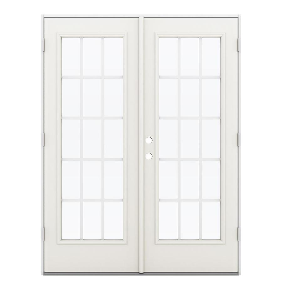ReliaBilt 59.5-in 15-Lite Grilles Between the Glass Sandy Shore Steel French Outswing Patio Door