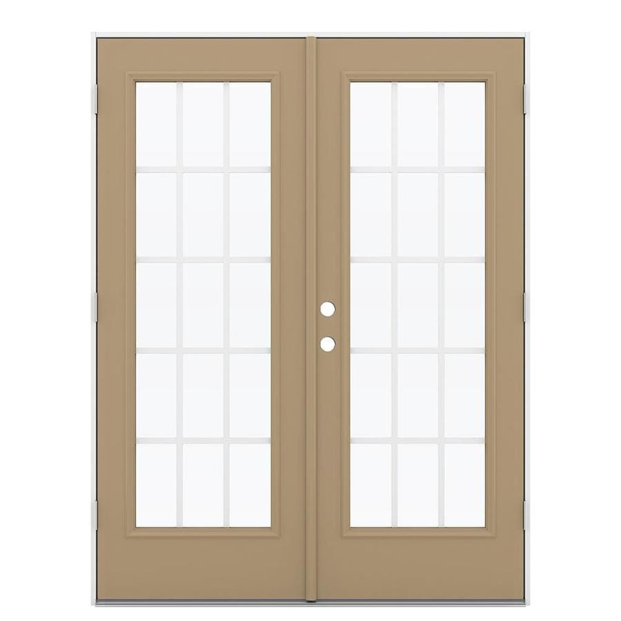 ReliaBilt 59.5-in 15-Lite Grilles Between the Glass Warm Wheat Steel French Outswing Patio Door