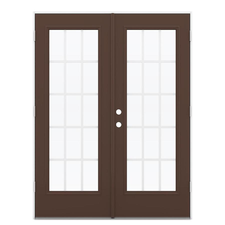 Shop jeld wen 59 5 in x 79 5 in grilles between the glass for French patio doors outswing