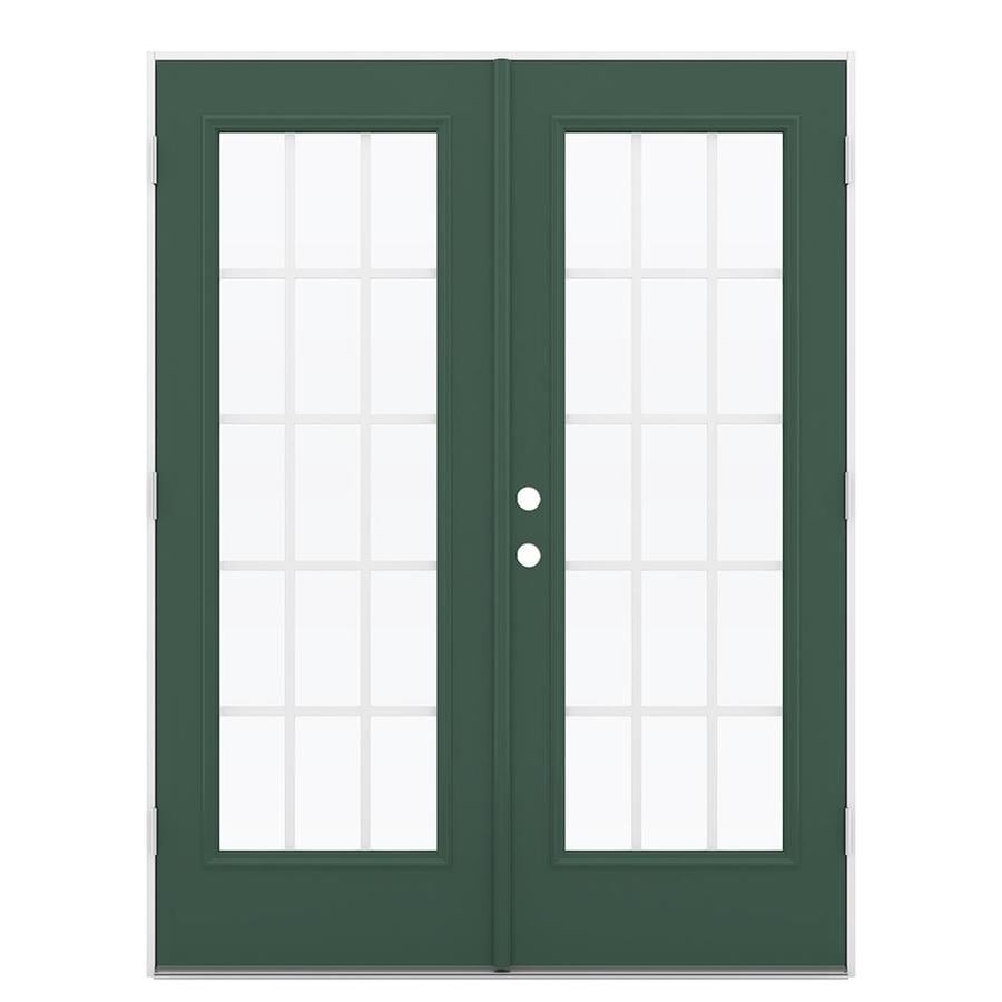 ReliaBilt 59.5-in 15-Lite Grilles Between the Glass Evergreen Steel French Outswing Patio Door