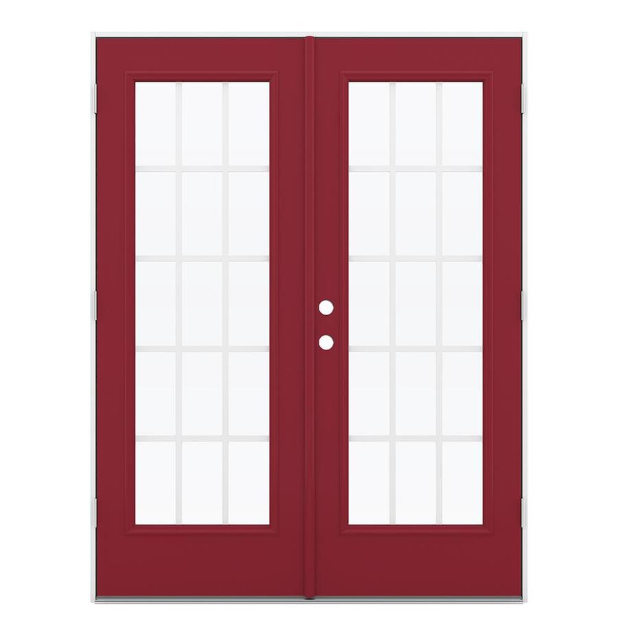 ReliaBilt 59.5-in 15-Lite Grilles Between the Glass Roma Red Steel French Outswing Patio Door