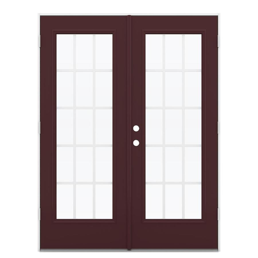 ReliaBilt 59.5-in 15-Lite Grilles Between the Glass Currant Steel French Outswing Patio Door
