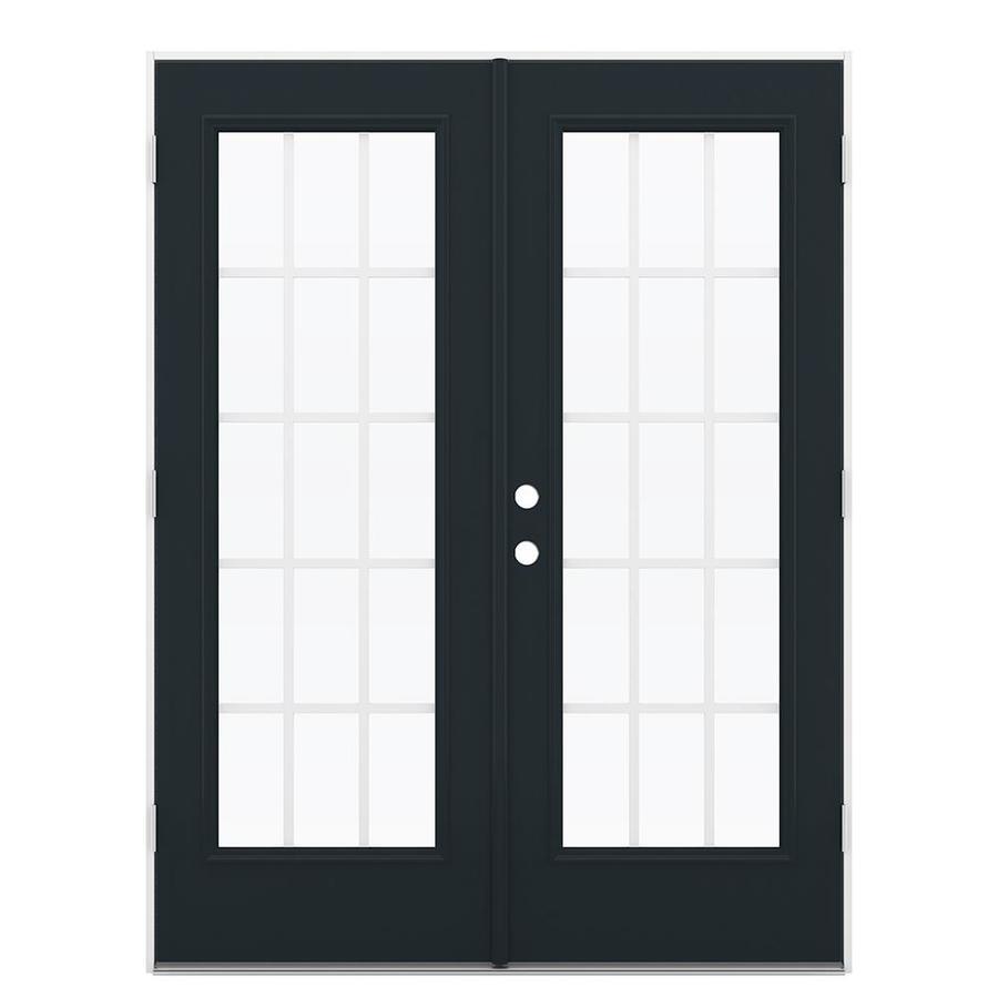 ReliaBilt 59.5-in 15-Lite Grilles Between the Glass Eclipse Steel French Outswing Patio Door
