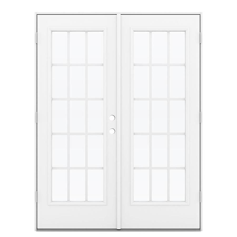 ReliaBilt 59.5-in 15-Lite Grilles Between the Glass Arctic White Steel French Outswing Patio Door