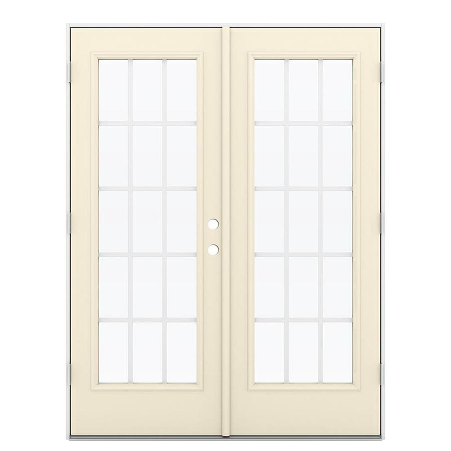 ReliaBilt 59.5-in 15-Lite Grilles Between the Glass Bisque Steel French Outswing Patio Door