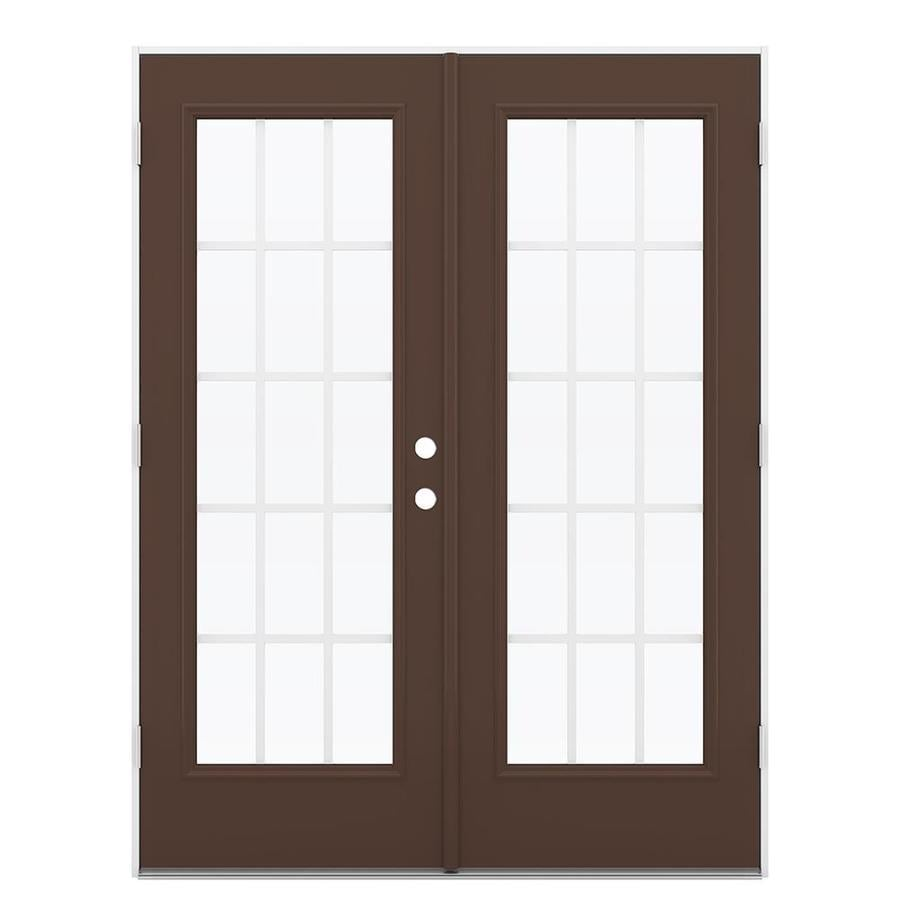 ReliaBilt 59.5-in 15-Lite Grilles Between the Glass Chococate Steel French Outswing Patio Door