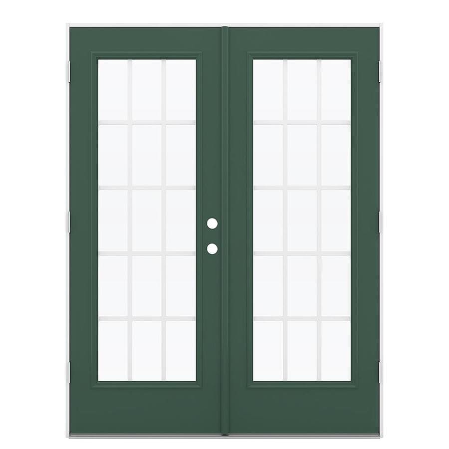 ReliaBilt 59.5-in x 79.5-in Grilles Between the Glass Right-Hand Outswing Green Steel French Patio Door