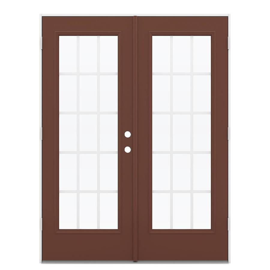 ReliaBilt 59.5-in 15-Lite Grilles Between the Glass Foxtail Steel French Outswing Patio Door