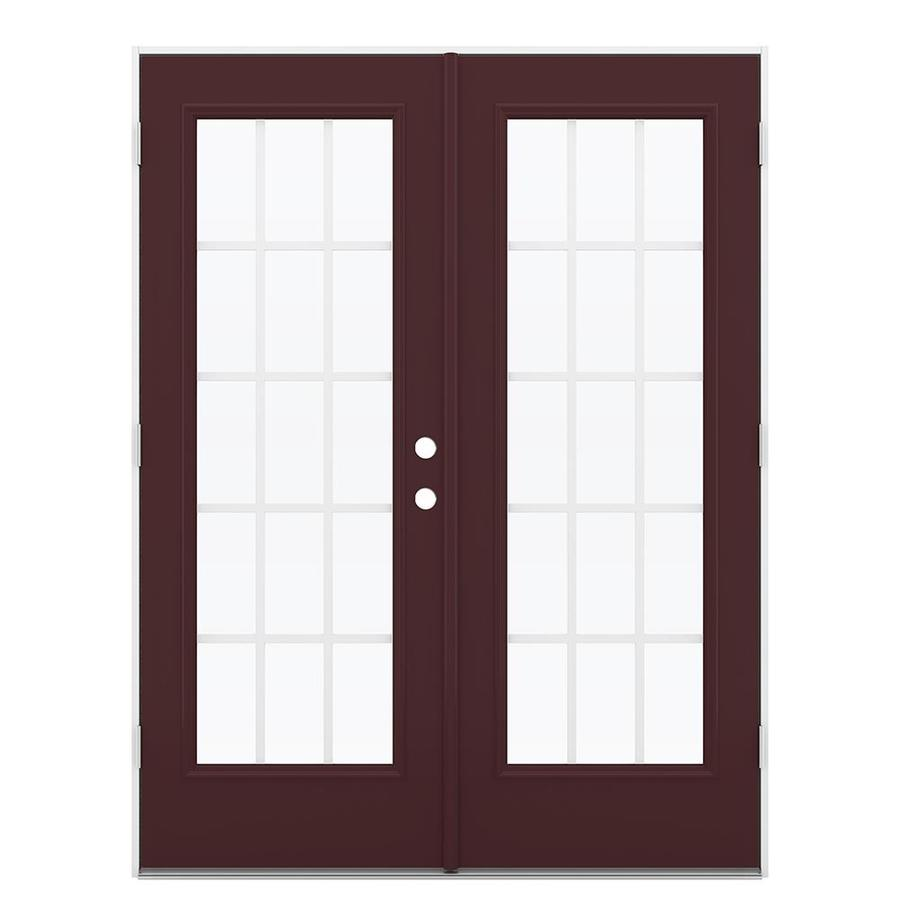 ReliaBilt 59.5-in x 79.5-in Grilles Between the Glass Right-Hand Outswing Steel French Patio Door