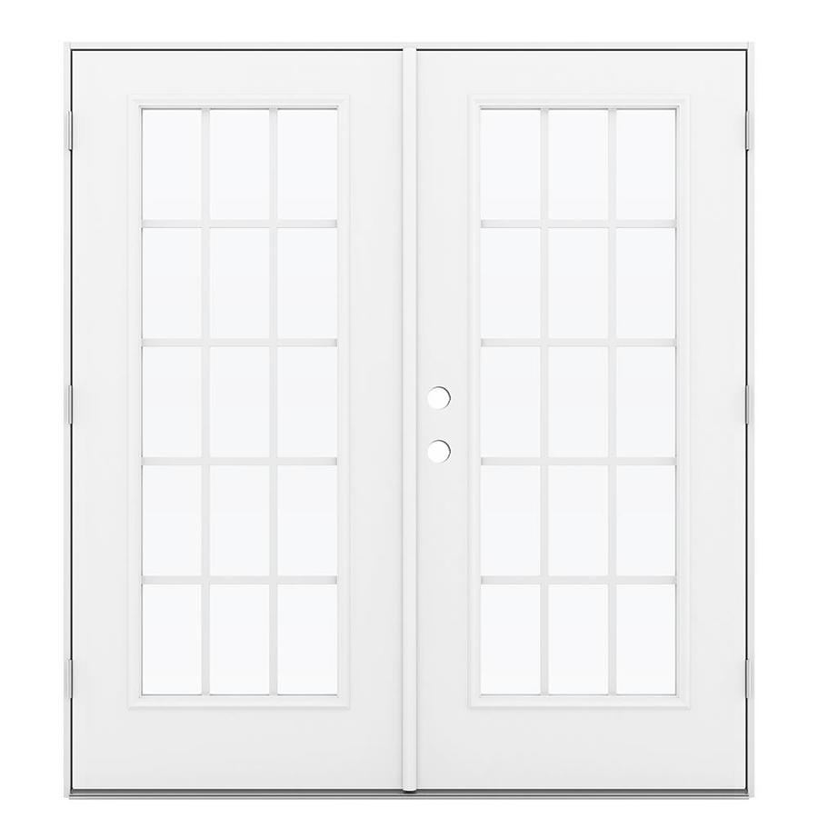 ReliaBilt 71.5-in 15-Lite Grilles Between the Glass Primed Steel French Outswing Patio Door