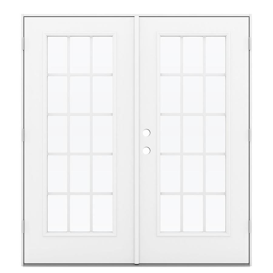 ReliaBilt 71.5-in 15-Lite Grilles Between the Glass Arctic White Steel French Outswing Patio Door