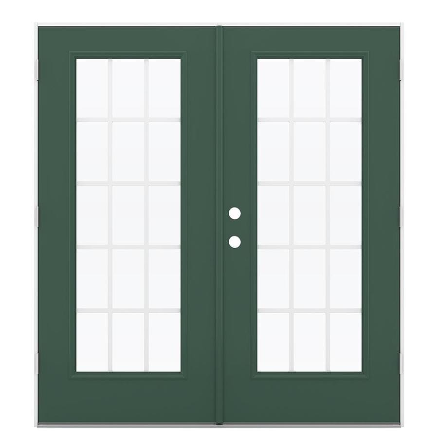 ReliaBilt 71.5-in 15-Lite Grilles Between the Glass Evergreen Steel French Outswing Patio Door