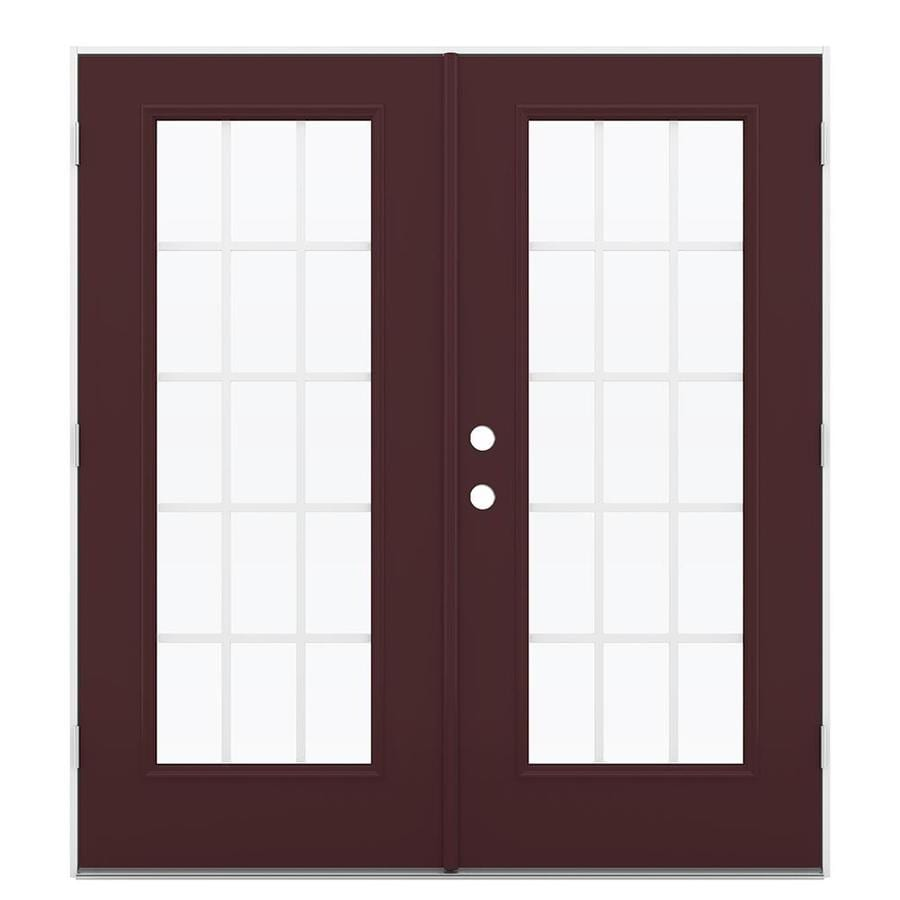 ReliaBilt 71.5-in 15-Lite Grilles Between the Glass Currant Steel French Outswing Patio Door