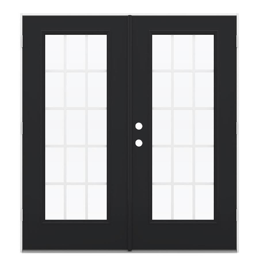 ReliaBilt 71.5-in 15-Lite Grilles Between the Glass Peppercorn Steel French Outswing Patio Door