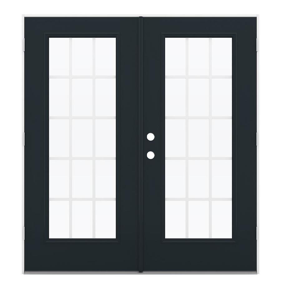 ReliaBilt 71.5-in 15-Lite Grilles Between the Glass Eclipse Steel French Outswing Patio Door