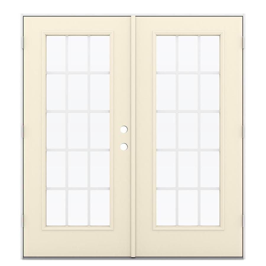 ReliaBilt 71.5-in 15-Lite Grilles Between the Glass Bisque Steel French Outswing Patio Door