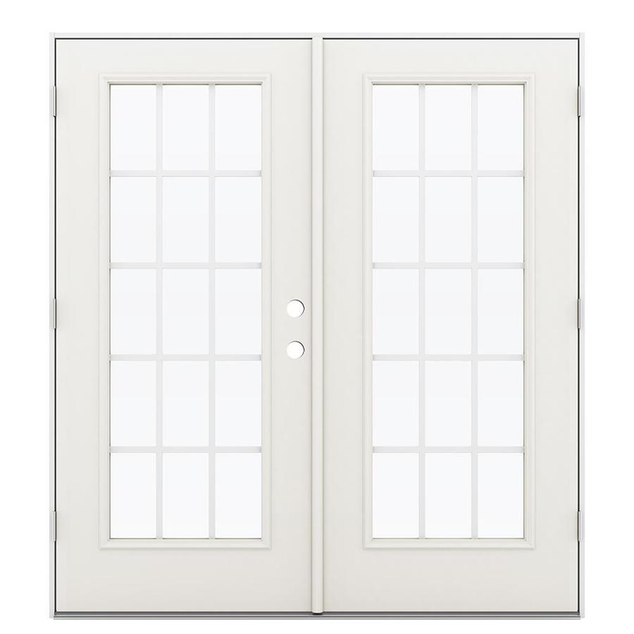 ReliaBilt 71.5-in 15-Lite Grilles Between the Glass Sandy Shore Steel French Outswing Patio Door