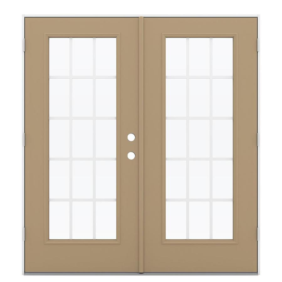 ReliaBilt 71.5-in 15-Lite Grilles Between the Glass Warm Wheat Steel French Outswing Patio Door