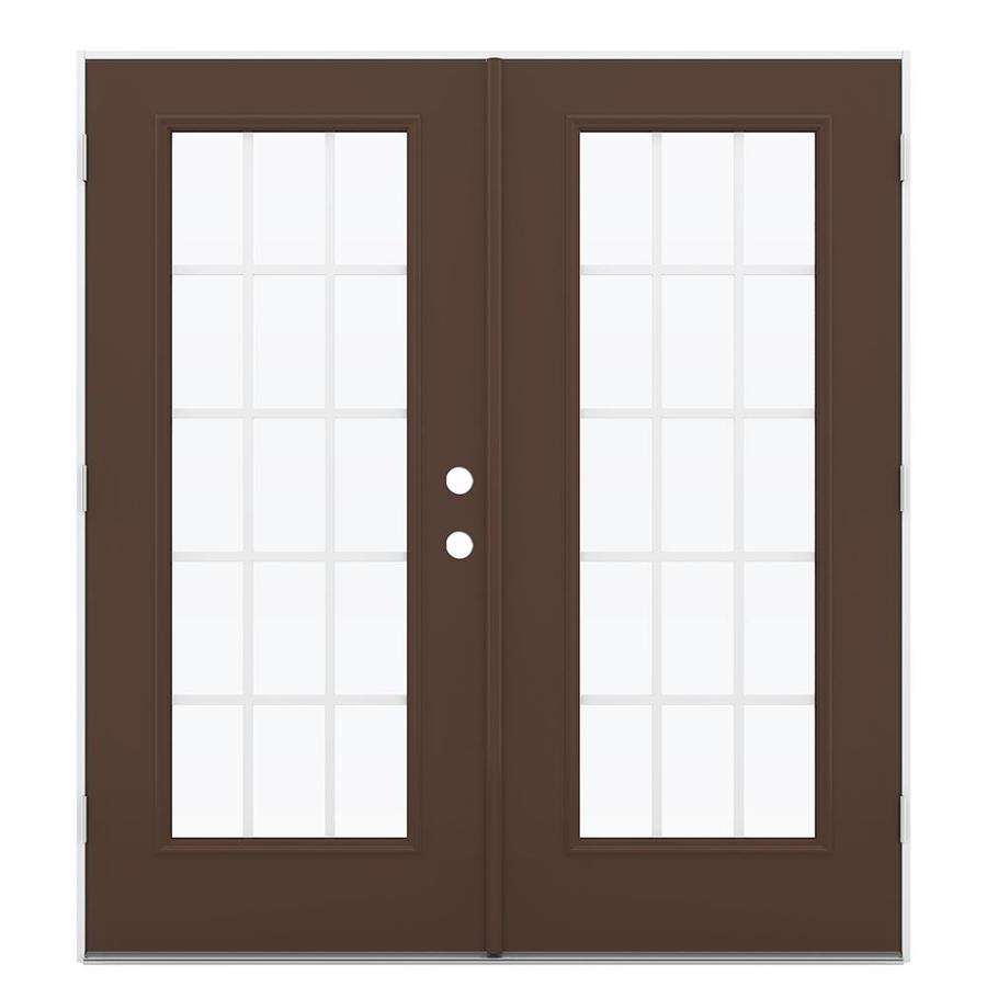 ReliaBilt 71.5-in x 79.5-in Grilles Between The Glass Right-Hand Outswing Brown Steel French Patio Door