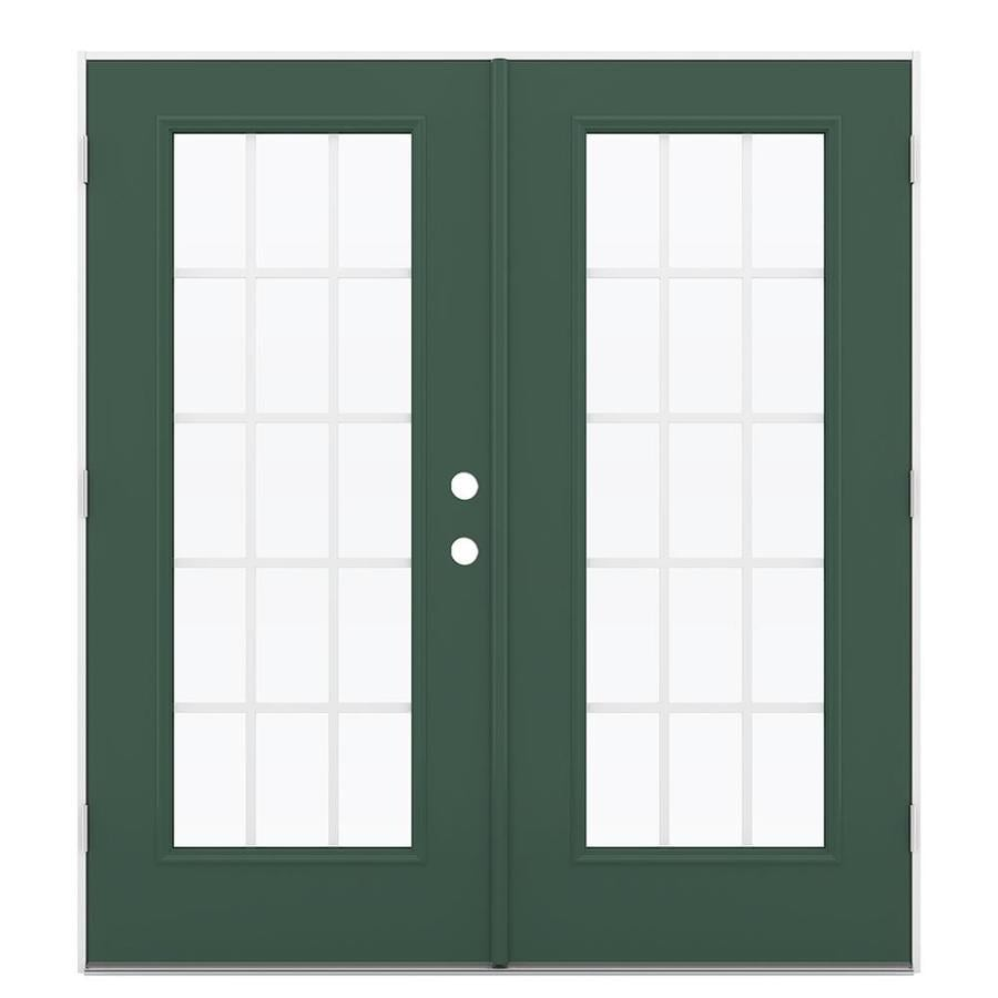 ReliaBilt 71.5-in x 79.5-in Grilles Between The Glass Right-Hand Outswing Green Steel French Patio Door