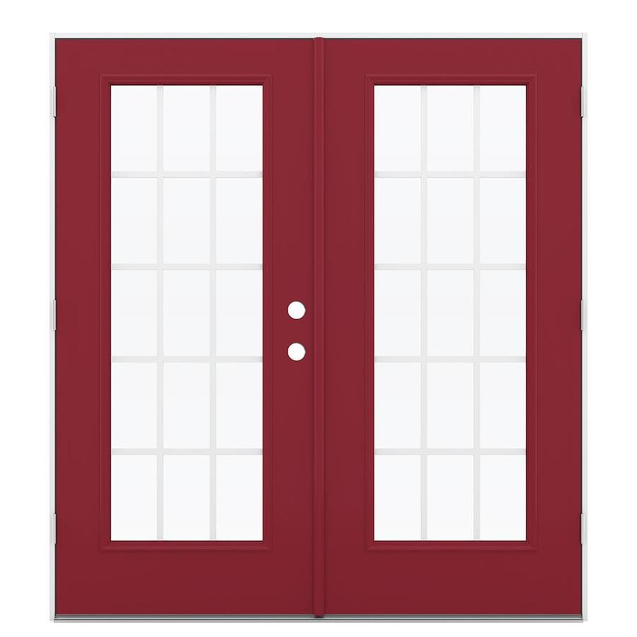 ReliaBilt 71.5-in 15-Lite Grilles Between the Glass Roma Red Steel French Outswing Patio Door