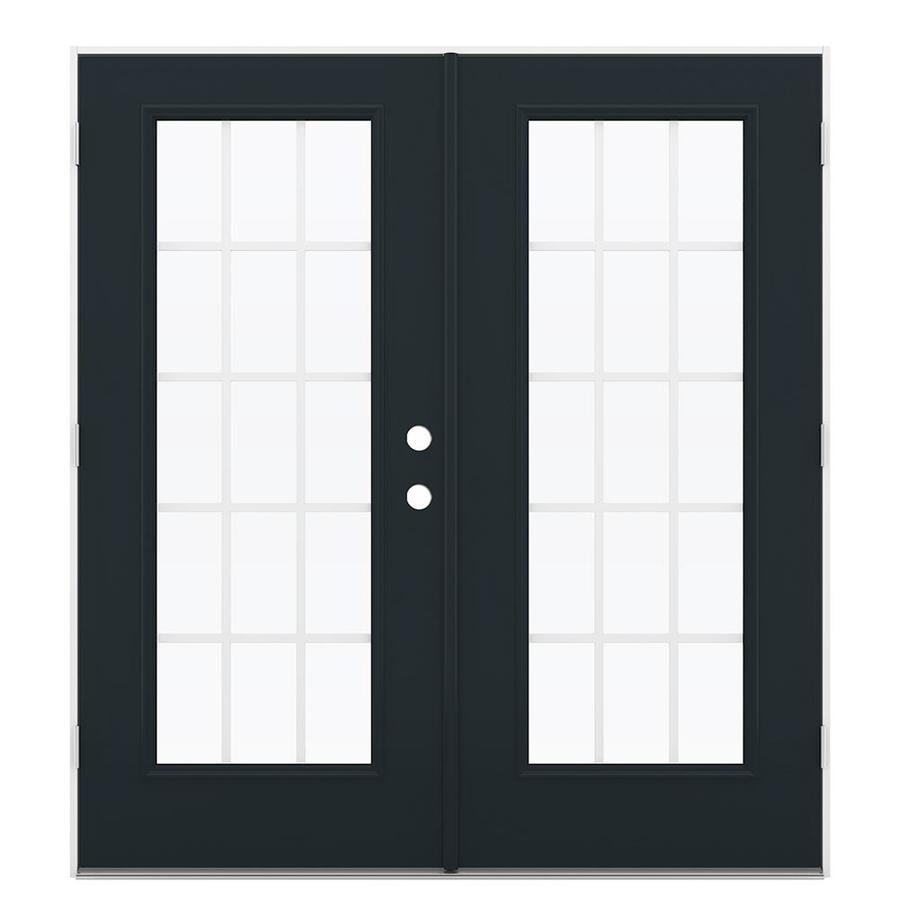 ReliaBilt 71.5-in x 79.5-in Grilles Between The Glass Right-Hand Outswing Black Steel French Patio Door