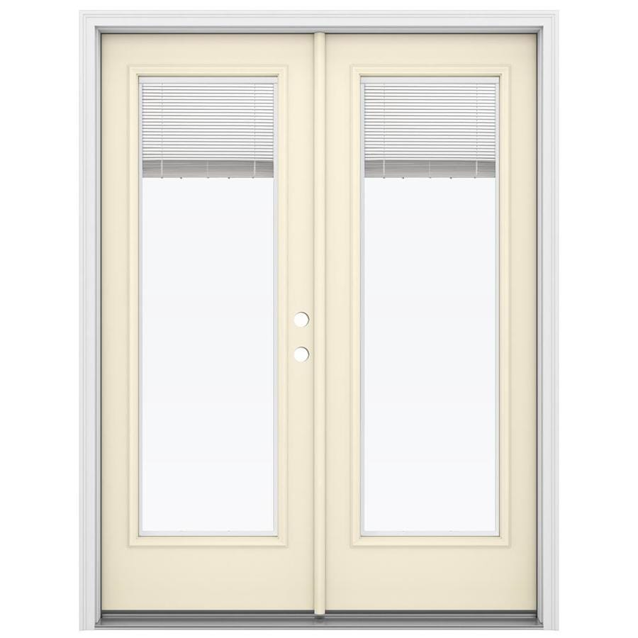 ReliaBilt 59.5-in Blinds Between the Glass Bisque Steel French Inswing Patio Door