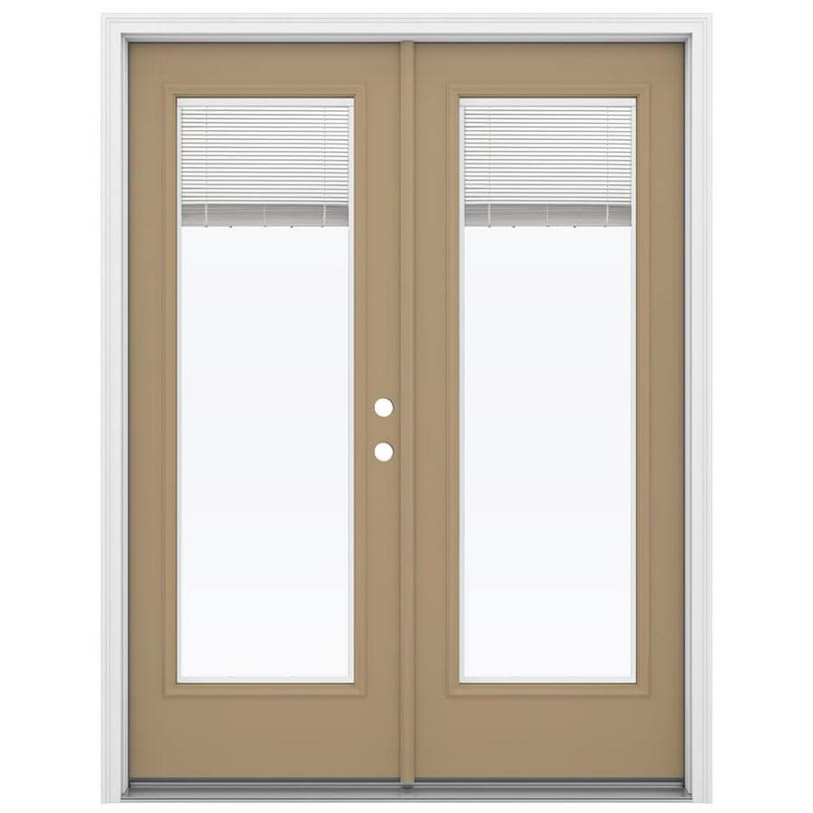 ReliaBilt 59.5-in Blinds Between the Glass Warm Wheat Steel French Inswing Patio Door