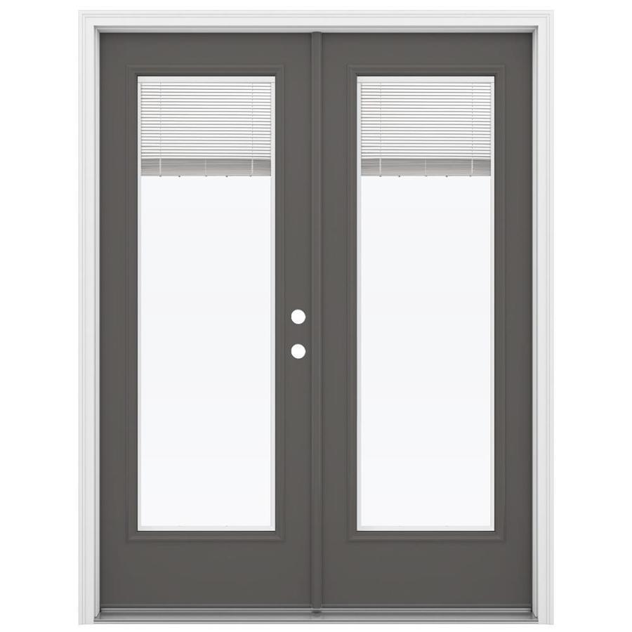 ReliaBilt 59.5-in Blinds Between the Glass Timber Gray Steel French Inswing Patio Door