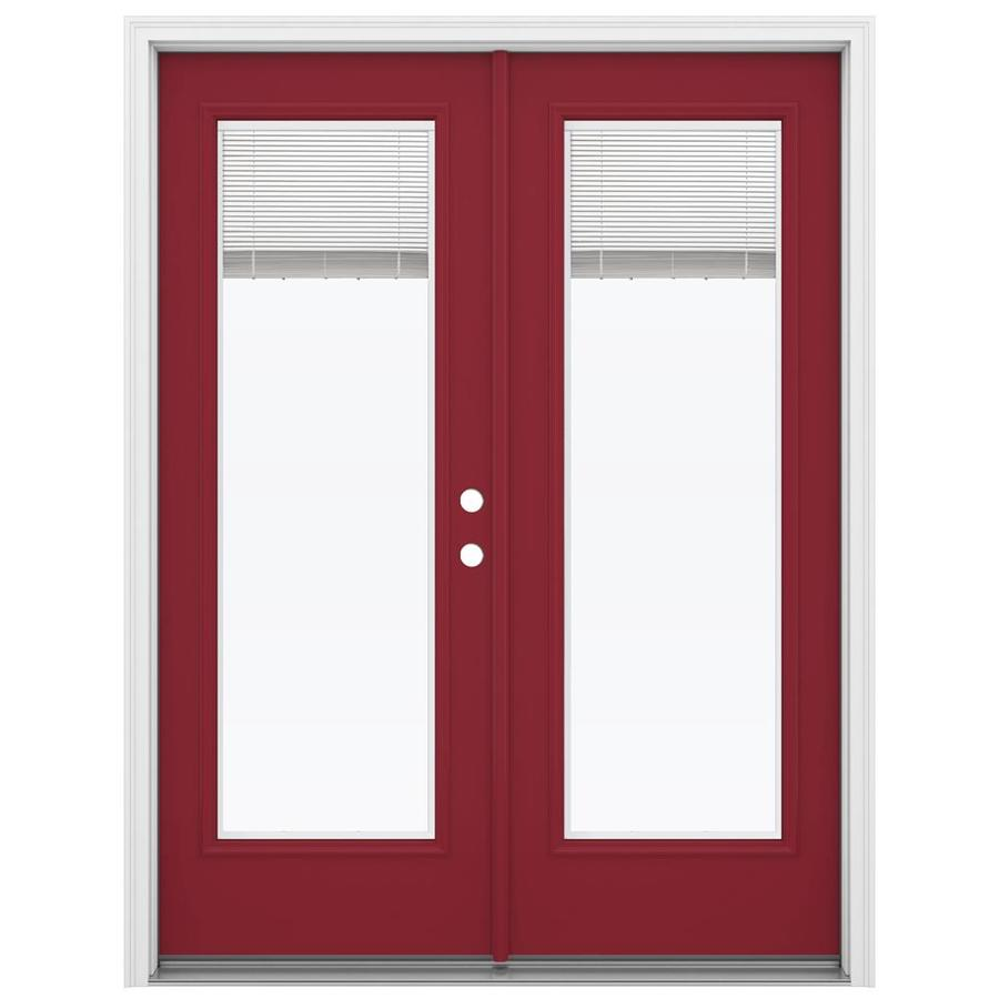 ReliaBilt 59.5-in Blinds Between the Glass Roma Red Steel French Inswing Patio Door
