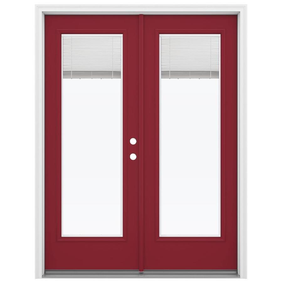 ReliaBilt 59.5-in x 79.5-in Blinds Between The Glass Left-Hand Inswing Red Steel French Patio Door