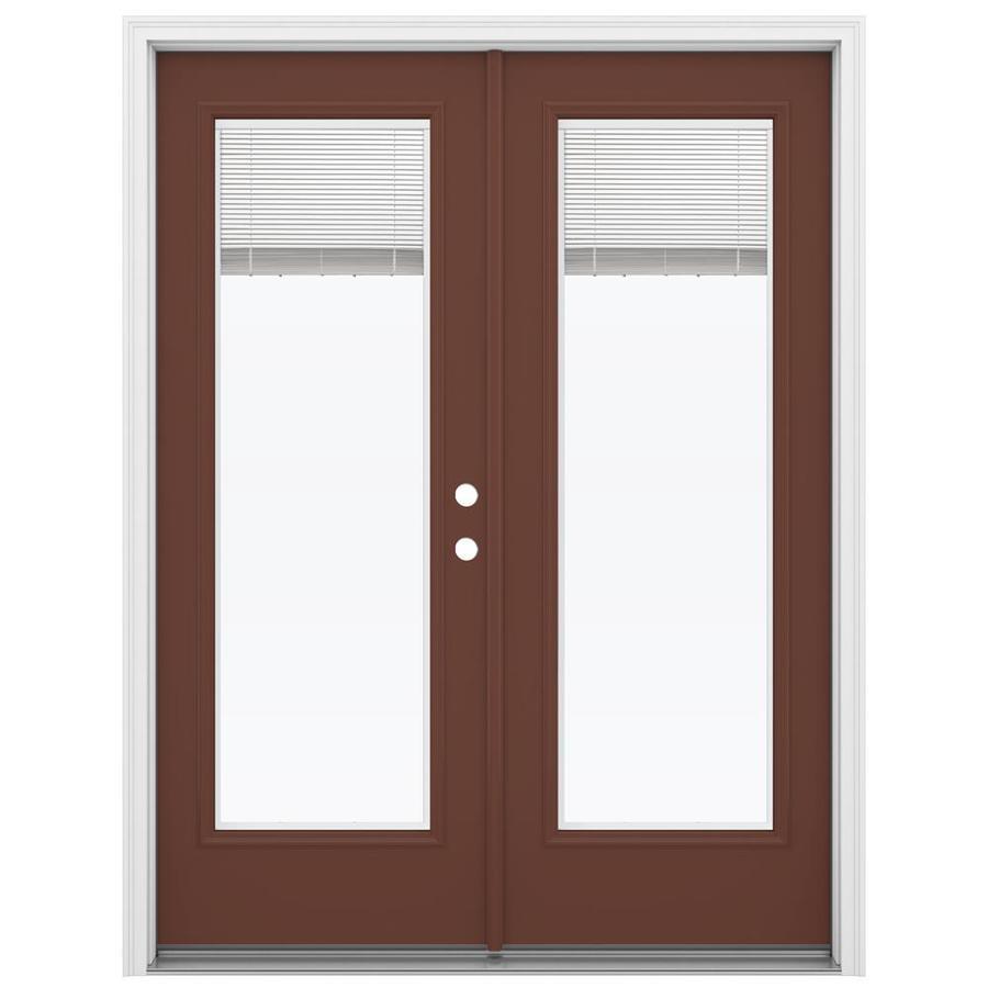 ReliaBilt 59.5-in x 79.5-in Blinds Between The Glass Left-Hand Inswing Brown Steel French Patio Door