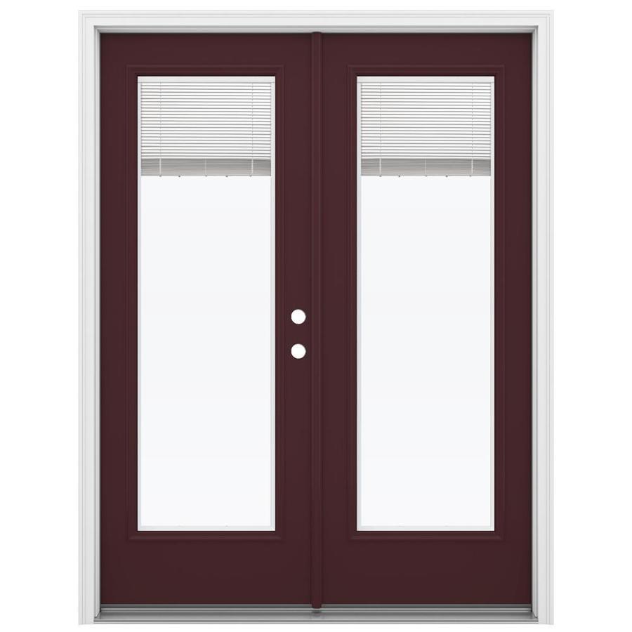 ReliaBilt 59.5-in Blinds Between the Glass Currant Steel French Inswing Patio Door