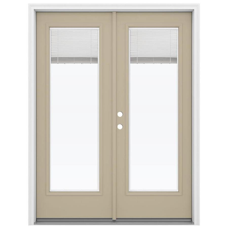 ReliaBilt 59.5-in x 79.5-in Blinds Between The Glass Right-Hand Inswing Brown Steel French Patio Door