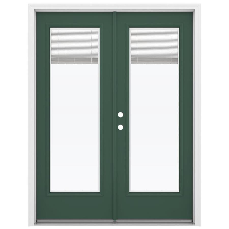 ReliaBilt 59.5-in x 79.5-in Blinds Between The Glass Right-Hand Inswing Green Steel French Patio Door