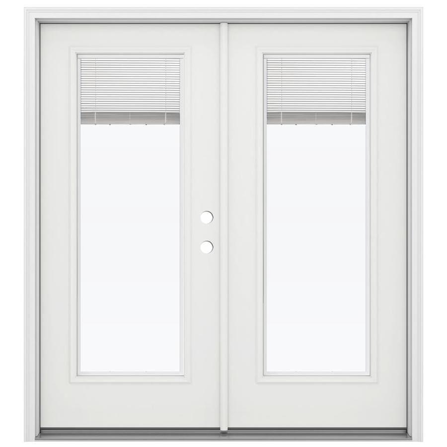 ReliaBilt 71.5-in Blinds Between the Glass Arctic White Steel French Inswing Patio Door