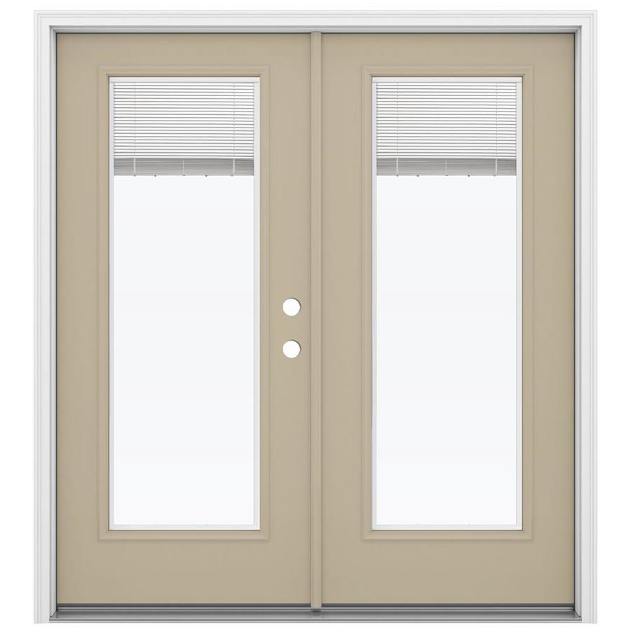 ReliaBilt 71.5-in Blinds Between the Glass Sandy Shore Steel French Inswing Patio Door
