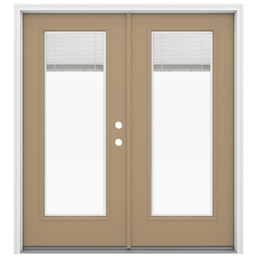 Shop Jeld Wen 71 5 In X 79 5 In Blinds Between The Glass Left Hand Inswing Brown Steel French