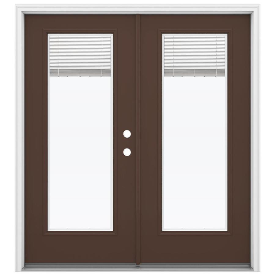 ReliaBilt 71.5-in Blinds Between the Glass Chococate Steel French Inswing Patio Door