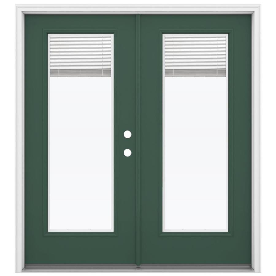 ReliaBilt 71.5-in Blinds Between the Glass Evergreen Steel French Inswing Patio Door